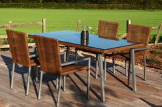 Montreux dining table and matching dining chairs in Croco rattan weave. Dining Tables, Outdoor Dining, Outdoor Decor, Contemporary Garden Furniture, Garden Table, Rattan, Weave, Outdoor Furniture Sets, Home Decor