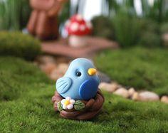 Oiseau bleu dans nid - plante accessoire - Accessoire pour Fairy Garden - Bouquet décoration de mariage