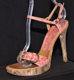 Pink Embossed CASADEI Italy Leather Camouflage Platform Ankle Strap Sandals 5Our price: $69.00http://2tymingthreads.com/index.php?l=536330