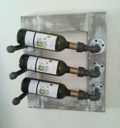 I love the industrial look of this wine rack! Very cool idea!