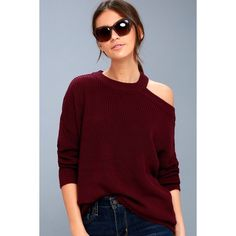 Lulus  Sleigh Ride Burgundy Cutout Sweater ($47) ❤ liked on Polyvore featuring tops, sweaters, red, red sweater, stretch sweater, burgundy long sleeve top, burgundy sweater and long sleeve sweater