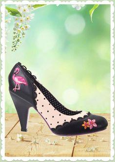 Banned 50er Jahre Rockabilly Schuhe Riemchen Pumps - Rayna - Flamingo