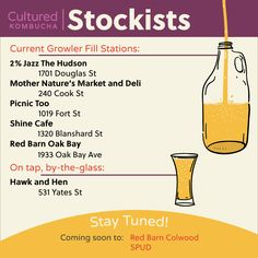 Live in Victoria, B. Keep updated with our vendor locations via our stockist card Shine Cafe, Growler Fill, Kombucha, Deli, Mother Nature, Knowledge, Canada, Victoria, Culture