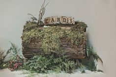 This mossy log wedding card box looks like something straight out of an enchanted forest