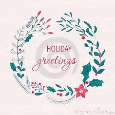 Happy holidays greeting card winter wreath with berries pine happy holidays greeting card winter wreath with berries pine branches leafs hand m4hsunfo
