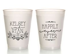 New to SipHipHooray on Etsy: Personalized Wedding Cups Happily Ever After Custom Wedding Favor Frosted Wedding Cups Rehearsal Dinner Favors Plastic Cups Cups 1377 (75.00 USD)