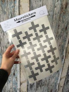 Zilverkleurige kruis stickers