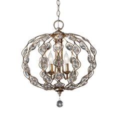 Feiss Leila 3 Light Burnished Chandelier