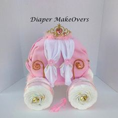 Princess Carriage and Diaper Bouquet Combo - Diaper Cake - Baby Shower Gift - Baby Girl - Shower Decor - Unique Baby Gift Baby Shower Diapers, Baby Shower Cakes, Baby Shower Gifts, Bebe Shower, Girl Shower, Diaper Bouquet, Diaper Wreath, Princess Diaper Cakes, Diaper Crafts