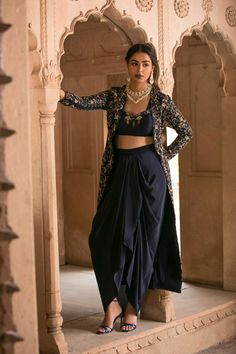 Velvet blue embroidery cape silk blouse drape skirt lehenga indian designer wedding wear women dresses pakistani clothes Excited to share this item from my shop: Velvet blue embroidery cape silk blouse drape skirt lehenga indian designer wedding wear wome Fashion In, Indian Fashion, Fashion Dresses, Maxi Dresses, Woman Dresses, Casual Dresses, Womens Fashion, Indian Wedding Outfits, Pakistani Outfits