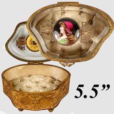 Antique French Jewelry Casket, Box, Glass Top, Kiln-fired Portrait of St. Helen, Divorce Saint