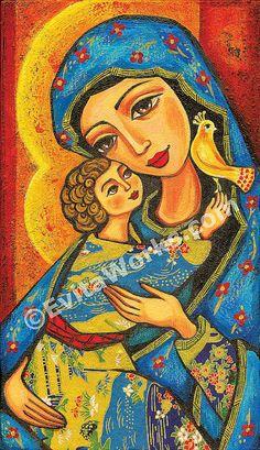 Madonna child, Virgin Mary Jesus painting, mother child, christian folk art…