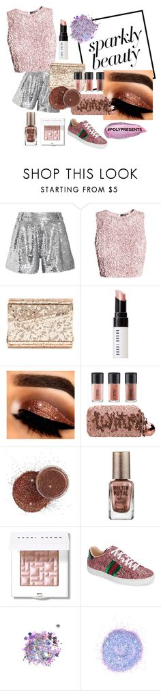 """Glitter All the Way ✨"" by gwendyy ❤ liked on Polyvore featuring beauty, Ashish, Jimmy Choo, Bobbi Brown Cosmetics, MAC Cosmetics, Barry M, Gucci, The Gypsy Shrine, Stila and contestentry"