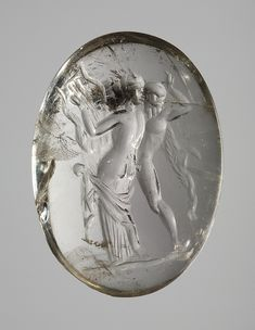 Satyr and lyre-playing maenad. Greek Hellenistic ringstone, 2nd century BC  Rock crystal. 1,7 x 1,3 cm Inventory number: I359