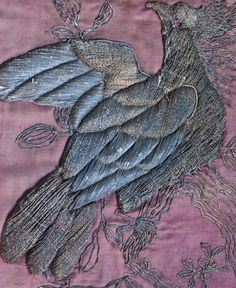 Antique French Metallic Embroidery Silk, Chateau Wall Hanging, 1820s, Silver Gilt & Pewter Thread on Rose