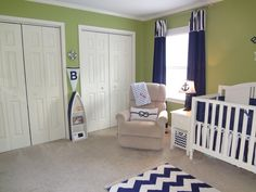Project Nursery - Green and Navy Nautical Nursery