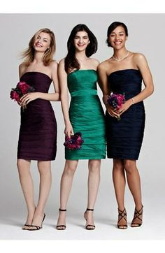 Love this idea for bridesmaids! Same dress, different colors.