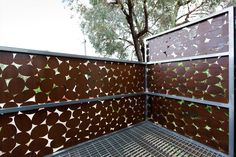 Inside view of 'Pebbles' rusty steel balustrade, laser cut for an Architectural project in Fitzroy, Vic.