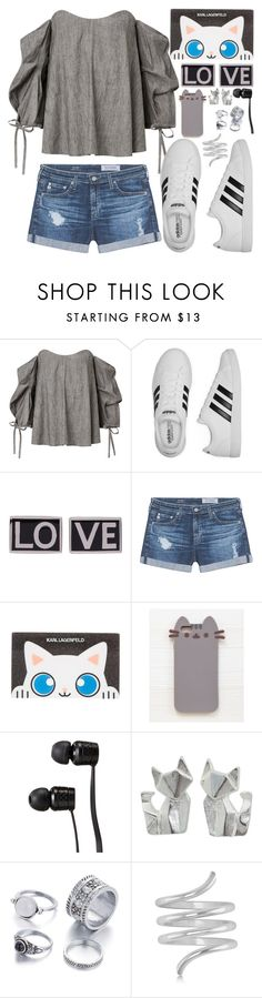 """""""Cute as a Kitty"""" by mrs-rc ❤ liked on Polyvore featuring adidas, Givenchy, AG Adriano Goldschmied, Karl Lagerfeld, Pusheen, Vans, NOVICA and Allurez"""