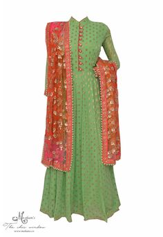 Pretty sea green and gajari frock suit with sequin shaded dupatta