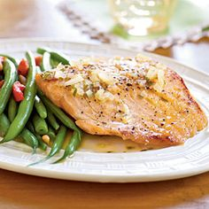 Orange-Glazed Salmon Fillets with Rosemary | MyRecipes.com  (WWP+5)  Plan on additional time for salmon to cook...also thicken sauce with cornstarch for serving.