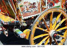 Detail of hand painted horse drawn decorated cart  outside Monreale cathedral, Monreale, Sicily, Italy. - Stock Photo