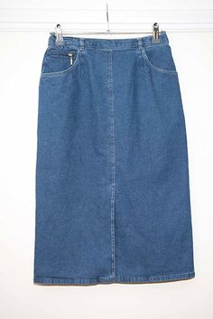 Basler Long Denim Pencil Skirt - UK Size 8 - Fitted - Stretch