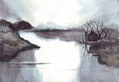Original watercolor art landscape waterscape boathouse by HelgaMcL, $22.00