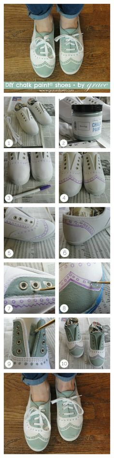 DIY Chalk Paint® Wingtip Sneakers. These shoes originally cost less than $6! Check out our tutorial here: wp.me/p30cW5-j6: