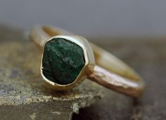 Rough Emerald in 18k Gold Ring- Custom Made.