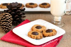 Here's a great way to make peanut butter blossoms low carb and gluten free. These peanut butter cookies with chocolate centers are always a hit.