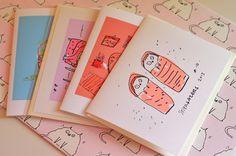 Set of 4 Cat Cards by jamieshelman on Etsy, $20.00