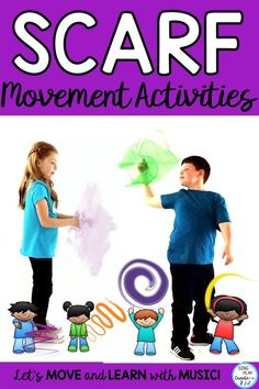 Scarf movement activities can help your students channel energy and learn concepts too! Scarf movement activities can help develop gross motor skills, coordination, reading ability and build classroom community too! Movement activities are fun way to engage students and TEACH. #singplaycreate #movementactivities #movement #scarfmovementactivities #creativemovement #creativemovementideas #musiced #musiceducation #preschool #homeschool