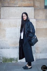 Gilda Ambrosio after Rochas fashion show. Shop this look (or similar) here: Jacket: Alpha Industries Ma1 Soft Shell Bomber Jacket Coat: JOSEPH Man wool and cashmere-blend coat // ACNE STUDIOS Era shearling-trimmed wool coat // ASOS WHITE Stripe Panel Longline Coat Shoes: J.CREW Tasseled