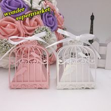 10pcs candy box wedding favors gifts for guest,laser cutting birds birdcage wedding party decoration kids supplies shower(China (Mainland))