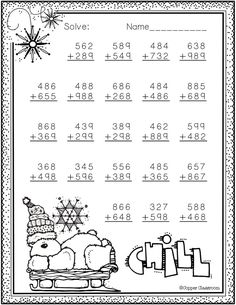 Winter Themed Addition with Regrouping Math Practice Worksheets, School Worksheets, Fun Math, Math Activities, Math Lessons, Primary Lessons, Homeschooling 2nd Grade, Christmas Worksheets, Teacher Helper