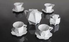 Laura Giger of Lauriger has created a bold, geometric set of luxury porcelain tableware White Interior Design, Wallpaper Magazine, Dinnerware Sets, Porcelain Dinnerware, China Patterns, Shape Design, Designer Wallpaper, Geometric Shapes, Geometric Patterns