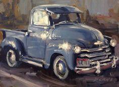 Still Life — David Simons Fine Art Antique Trucks, Antique Cars, Old Trucks, Chevy Trucks, Old Vintage Cars, Car Themes, Truck Art, Car Painting, Watercolor Painting