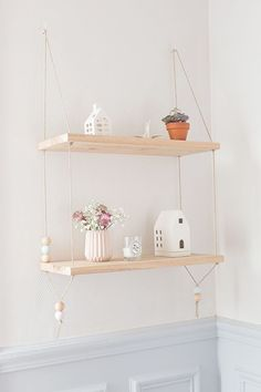 DIY Pretty Hanging Shelves - Home Decor ideas are pretty cheap when you DIY. I am glad that I could find these DIY Home Decor Ideas and pinning for future reference. Every girl should know these Home Decor DIY ideas.