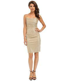 Laundry by Shelli Segal Skinny Strap Side Shirred Dress Gold - 6pm.com