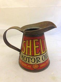 SHELL MOTOR OIL QUART MEASURE W/WIDE RIM
