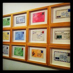 Have your friends send you post cards or letters and turn them into wall art!