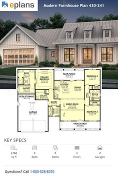 Looking for farmhouse inspiration? You'll love our collection of farmhouse style homes. This modern farmhouse style home gives you an open floor plan, cute front porch, and a farm style kitchen. Call 1-800-528-8070 today. #architect #architecture #buildingdesign #homedesign #residence #homesweethome #dreamhome #newhome #newhouse #foreverhome #interiors #archdaily #modern #farmhouse #house #lifestyle #design
