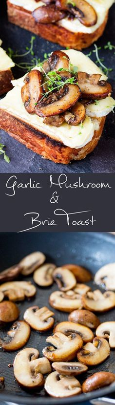 Garlic Mushroom and Brie Toast. Umm... YES! Quick snack or great one to entertain the guests! – I Quit Sugar #Vegetariancooking
