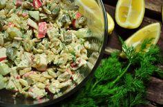 Sałatka z makaronu i paluszków surimi - niebo na talerzu Pasta Salad, Potato Salad, Food And Drink, Cooking Recipes, Ethnic Recipes, Chef Recipes, Cooking, Crab Pasta Salad