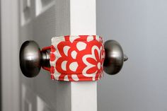 This is brilliant! Door Jammer - allows you to open and close baby's door without making a sound. Keeps little ones from shutting themselves in the room. (This would be a great gift for new moms.) Add to scrap fabric ideas!