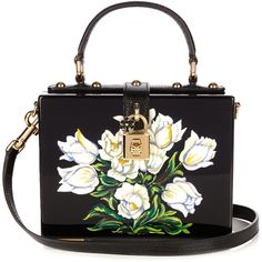 Dolce & Gabbana Dolce Box Tulip-print plexiglass bag (€2.760) ❤ liked on Polyvore featuring bags, handbags, shoulder bags, black white, top handle handbags, purse shoulder bag, handbags shoulder bags, black and white handbags and black white handbag
