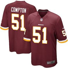 Men s Nike Washington Redskins  51 Will Compton Game Burgundy Red Team  Color NFL Jersey Taylor 412c26a40