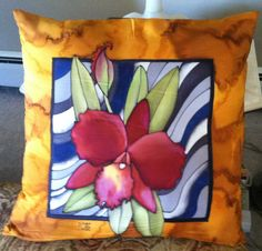 """""""Orchid Pillow"""" 24 x 24 inches. Hand-painted silk by Pamela Glose, www.MySilkArt.com"""