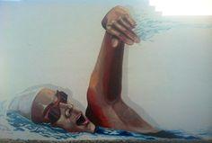 Street art. mural nadadora. Aquarade
